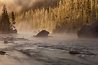 Firehole River in Yellowstone National Park at dawn