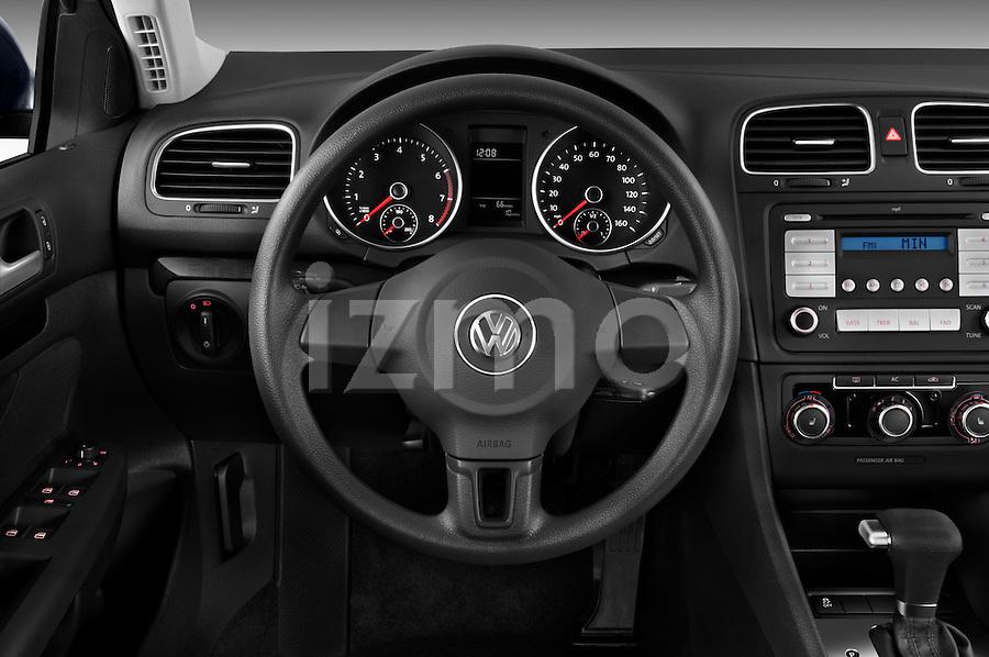 Steering wheel view of a 2010 Volkswagen Jetta SportWagen S