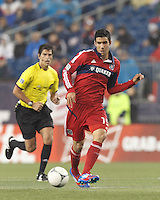 Chicago Fire midfielder Orr Barouch (15) passes the ball. In a Major League Soccer (MLS) match, the New England Revolution defeated Chicago Fire, 2-0, at Gillette Stadium on June 2, 2012.