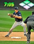 12 April 2008: Atlanta Braves' second baseman Kelly Johnson in action against the Washington Nationals at Nationals Park, in Washington, DC. The Braves defeated the Nationals 10-2...Mandatory Photo Credit: Ed Wolfstein Photo