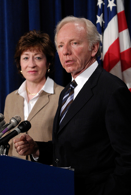 Sen. Susan Collins, R-Me., and Sen. Joseph Lieberman, D-Ct., speak at a press conference about a new report that calls for the abolishment of FEMA.