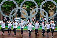 Giant Olympic Rings are unveiled in Glasgow