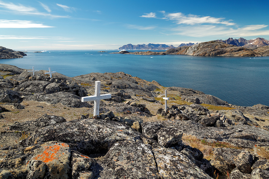 Graves marked by white crosses, Kulusuk, East Greenland
