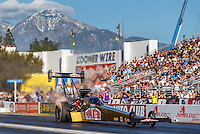 Feb 12, 2017; Pomona, CA, USA; NHRA top fuel driver Leah Pritchett during the Winternationals at Auto Club Raceway at Pomona. Mandatory Credit: Mark J. Rebilas-USA TODAY Sports