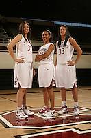 STANFORD, CA - OCTOBER 9:  Rosalyn Gold-Onwude, Morgan Clyburn, and Jillian Harmon of the Stanford Cardinal during picture day on October 9, 2008 at Maples Pavilion in Stanford, California.