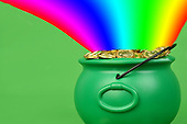 Stock photo of pot of gold and rainbow
