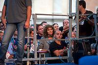 Roma 1 Ottobre 2011.Ora tocca a noi.Manifestazione nazionale di Sinistra, Ecologia, Libertà, a Piazza Navona..L'attrice Valeria Golino ascolta l'intervento di Nichi Vendola.