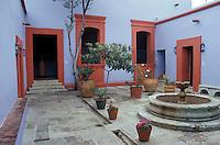 Interior courtyard of the Museo Casa de Juarez in Oaxaca city, Mexico.