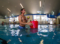 Coolangatta, Queensland, Australia. (Wednesday February 1, 2014) –  The swell was clean and tiny today. Mick Fanning (AUS) and Leo Fioravanti (ITA) trained in an indoor pool with Nam Baldwin (AUS) doing breathing exercises and simulating wipeouts. Photo: joliphotos.com