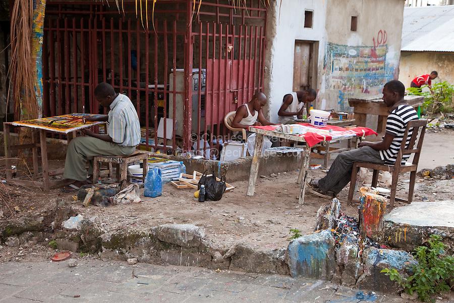 Stone Town, Zanzibar, Tanzania.  Tingatinga Painters' Courtyard.