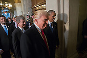 United States President-elect Donald Trump and US President Barack Obama, right, arrive for Trump's inauguration ceremony at the Capitol in Washington, Friday, Jan. 20, 2017. <br /> Credit: J. Scott Applewhite / Pool via CNP