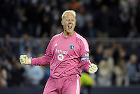 Jimmy  Nielsen goalkeeper Sporting KC at the final whistle..Sporting Kansas City defeated D.C Utd 1-0 at Sporting Park, Kansas City, Kansas.