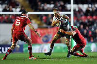 Lachlan McCaffrey of Leicester Tigers takes on the Munster defence. European Rugby Champions Cup match, between Leicester Tigers and Munster Rugby on December 20, 2015 at Welford Road in Leicester, England. Photo by: Patrick Khachfe / JMP