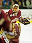 9 January 2009: Boston College Eagles' goaltender John Muse, a Sophomore from East Falmouth, MA, in action during the first game of a weekend series against the University of Vermont Catamounts at Gutterson Fieldhouse in Burlington, Vermont. The Catamounts scored with one second remaining in regulation time to earn a 3-3 tie with the visiting Eagles. Mandatory Photo Credit: Ed Wolfstein Photo