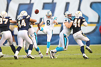 12/16/12 San Diego, CA: Carolina Panthers punter Brad Nortman #8 during an NFL game played between the Carolina Panthers and the San Diego Chargers held at Qualcomm Filed. The Panthers defeated the Chargers 31-7