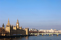 The Housese of Parliament and Big Ben by Westminster Bridge on the banks of the River Thames, London, UK