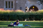 Oct. 8, 2013; A student studies outside of Coleman-Morse Center. Photo by Barbara Johnston/University of Notre Dame