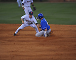 Ole Miss' Alex Yarbrough (2) tags out Kentucky's Paul McConkey (4) on a steal attempt at Oxford-University Stadium in Oxford, Miss. on Friday, April 15, 2011. Ole Miss won 3-2.