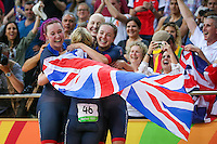 Picture by Alex Whitehead/SWpix.com - 13/08/2016 - 2016 Rio Olympic Games - Track Cycling - Olympic Velodrome, Rio de Janeiro, Brazil - Great Britain's Women's Team Pursuit celebrate winning Gold in the final, from left, Katie Archibald, Laura Trott, Joanna Rowsell-Shand and Elinor Barker.