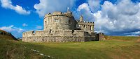 Pendennis Castle one of Henry VIII's Device Forts, or Henrician castle built between 1539 - 1545 overlooking the Fal estuary, near Falmouth, Cornwall, England