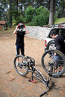 Lucas and Rodrigo gearing-up for mountain biking in the Ajusco, Mexico City, Mexico