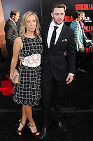 """HOLLYWOOD, LOS ANGELES, CA, USA - MAY 08: Sam Taylor-Wood, Aaron Taylor-Johnson at the Los Angeles Premiere Of Warner Bros. Pictures And Legendary Pictures' """"Godzilla"""" held at Dolby Theatre on May 8, 2014 in Hollywood, Los Angeles, California, United States. (Photo by Xavier Collin/Celebrity Monitor)"""
