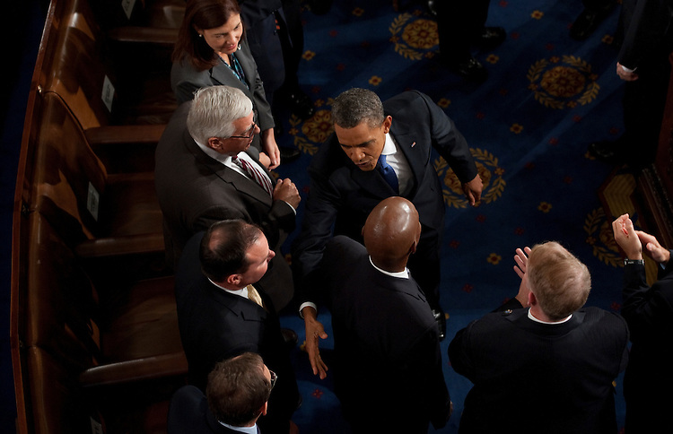 UNITED STATES - SEPTEMBER 8: President Barack Obama shakes hands with Senate Republicans after delivering his speech on jobs to a joint session of Congress on Thursday, Sept. 8, 2011. (Photo By Bill Clark/Roll Call)