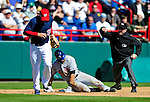 6 March 2010: Washington Nationals' third baseman Ryan Zimmerman gets Angel Pagan out at third during a Spring Training game against the New York Mets at Space Coast Stadium in Viera, Florida. The Mets defeated the Nationals 14-6 in Grapefruit League action. Mandatory Credit: Ed Wolfstein Photo