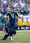 Seattle Seahawks kicker Steven Hauschka nails a 20-yard field goal against the Green Bay Packers in the NFL Kickoff Game game at CenturyLink Field in Seattle, Washington on September 4, 2014.  Seattle beat Green Bay 36-16. ©2014  Jim Bryant Photo. ALL RIGHTS RESERVED.