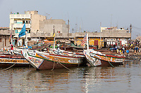 Senegal, Saint Louis.  Guet N'Dar Neighborhood, Fishing Boats Tied up along the Senegal River.