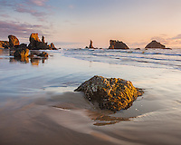 Coos County, OR:  Bandon beach at low tide with seastacks of the Oregon Islands National Wildlife Refuge