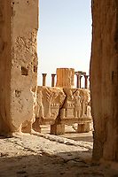 Carved relief depicting figures, tree, altars, peristyle courtyard, sanctuary of Bel Marduk, chief Mesopotamian deity, built 3rd century BC - 1st century AD, Palmyra, Syria, view from doorway, detail Picture by Manuel Cohen