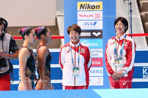 (L-R) Yukiko Inui &amp; Risako Mitsui,  Masayo Imura (JPN), <br /> JULY 28, 2015 - Synchronised Swimming :<br /> 16th FINA World Championships Kazan 2015<br /> Duets Free Routine <br /> Preliminary <br /> at Kazan Arena in Kazan, Russia.<br /> (Photo by Yohei Osada/AFLO SPORT)