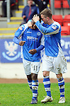 St Johnstone v Motherwell.....19.05.13      SPL.Nigel Hasselbaink celebrates his goal with Chris Millar.Picture by Graeme Hart..Copyright Perthshire Picture Agency.Tel: 01738 623350  Mobile: 07990 594431