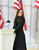 """Washington, DC - January 18, 2009 -- Rosario Dawson reads a historical passage at the """"Today: We are One - The Obama Inaugural Celebration at the Lincoln Memorial"""" in Washington, D.C. on Sunday, January 18, 2009..Credit: Ron Sachs / CNP.(RESTRICTION: NO New York or New Jersey Newspapers or newspapers within a 75 mile radius of New York City)"""
