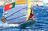 Portugal, Funchal, Madeira :  Portuguese Luis Rodrigues, competes on February 24, in 2012 European Windsurfing Championships in the bay of Funchal on the Portuguese archipelago of Madeira.Photo Gregorio Cunha .Campeonato da Europa de windsuf, classe RSX, na baia da cidade do Funchal,  Iha da Madeira, Portugal..Foto Gregorio Cunha