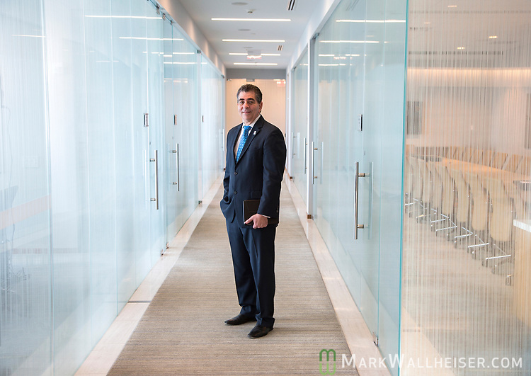 Incoming Florida Bar president Michael Higer  at the Berger Singerman office on Brickell Street in Miami, Florida.