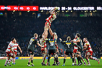 Ross Moriarty of Gloucester Rugby wins the ball at a lineout. Aviva Premiership match, between Harlequins and Gloucester Rugby on December 27, 2016 at Twickenham Stadium in London, England. Photo by: Patrick Khachfe / JMP