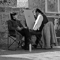Street Artist and Subject near Grand Masters' Palace, Rhodes, Greece