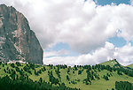 A mountain and hillside in the Italian Dolomites in summer