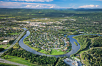 Aerial view of the Downtown Fairbanks, Chena river, Tanana river and Tanana Valley to the south, Alaska range on horizon, Alaska, Fairbanks.