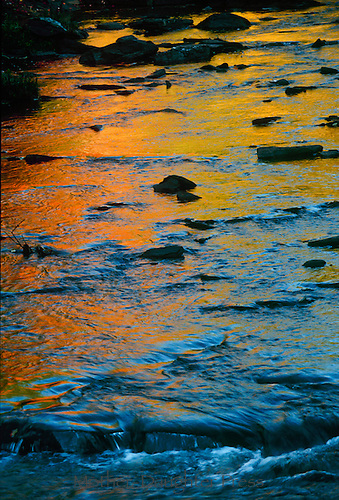 Gorgeous sunset reflected in New England river