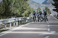 Team Orica-Scott preparing for the 2017 season on the Coll de Rates (alt 626m/Alicante/Spain) in january