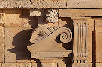 Sculptural detail of a scroll at the level of the Vestibule on the Phare de Cordouan or Cordouan Lighthouse, built 1584-1611 in Renaissance style by Louis de Foix, 1530-1604, French architect, located 7km at sea, near the mouth of the Gironde estuary, Aquitaine, France. This is the oldest lighthouse in France. There are 4 storeys, with keeper apartments and an entrance hall, King's apartments, chapel, secondary lantern and the lantern at the top at 68m. Parabolic lamps and lenses were added in the 18th and 19th centuries. The lighthouse is listed as a historic monument. Picture by Manuel Cohen