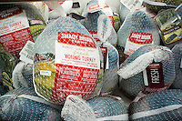 Shady Brook brand fresh Turkeys for sale in a supermarket in New York on Saturday, November 19, 2016. (© Richard B. Levine)