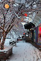 """Holiday Lights in Downtown Truckee 4"" - These snow covered holiday lights were photographed on Commercial Row in historic Downtown Truckee, CA."