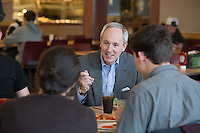 20130326 President Tom Sullivan and Leslie Sullivan dine with students at Redstone Dining Hall