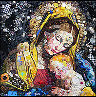 BNPS.co.uk (01202 558833)<br /> Pic: Bluebowerbird/BNPS<br /> <br /> Madonna and child by Baroque master Giovanni Salvi.<br /> <br /> PopArt - Artist Jane Perkins recreates famous people and paintings from recycled plastic rubbish.<br /> <br /> Her stunning 'Plastic Classics' generate the most interest and sell for thousands of pounds.<br /> <br /> She has created rubbish replica's of famous paiintings by Van Gogh's, Monet, Raphael, Gustav Klimt, Salvi and Frida Kahlo as well as Japanese artist Katsushika Hokusai's the Great Wave of Kanagawa.<br /> <br /> She also creates pictures of animals for private commissions. For example, a stunning work of a tiger's head is made up of objects like plastic toy animals, golf tees and beads.<br /> <br /> Jane, a former hospital nurse from Kenton, near Exeter, Devon, now sells her work for up to &pound;2,500 a go.<br /> <br /> She said: &quot;I go to car boot sales and buy anything that is plastic, mostly toys and bits of broken jewellery, anything small. The neighbours often give me bags of bits and pieces they no longer want. <br /> <br /> &quot;People love them because they can see the whole image but also see what is in it. They can find things in them that they recognise, like little bits from their childhood.