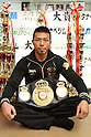 Takashi Uchiyama (JPN), JANUARY 2, 2012 - Boxing : WBA super featherweight champion Takashi Uchiyama poses with his champion belt during the press conference at Watanabe boxing gym in Tokyo, Japan. (Photo by Hiroaki Yamaguchi/AFLO)