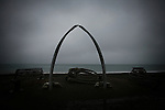 A pair of crossed whale ribs form an arc facing out onto an iceless Arctic Ocean in the town of Barrow, Alaska - the northernmost point in the United States - on Sunday Sept. 15, 2007. The summer of 2007 saw the most extensive  summertime ice retreat on record in the Arctic.